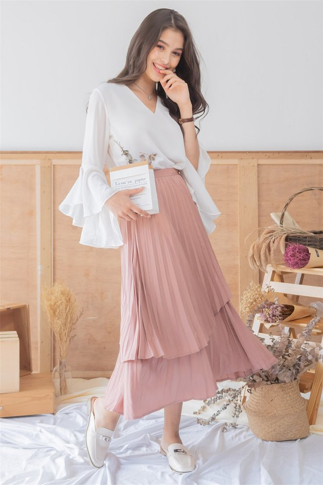 *BACK IN STOCK* Pleated Tiered Midi Skirt in Dusty Rose