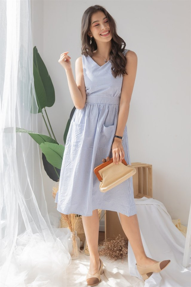 ACW Pinstripe Duo Pocket Midi Dress in Sky Blue