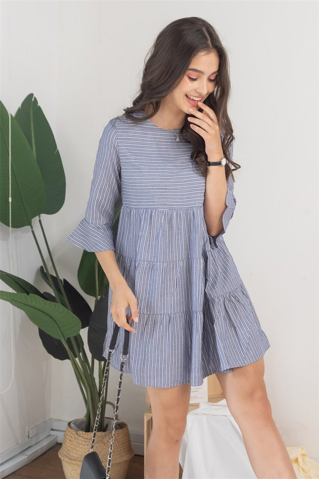 ACW Pinstripe Tiered Babydoll Dress in Grey