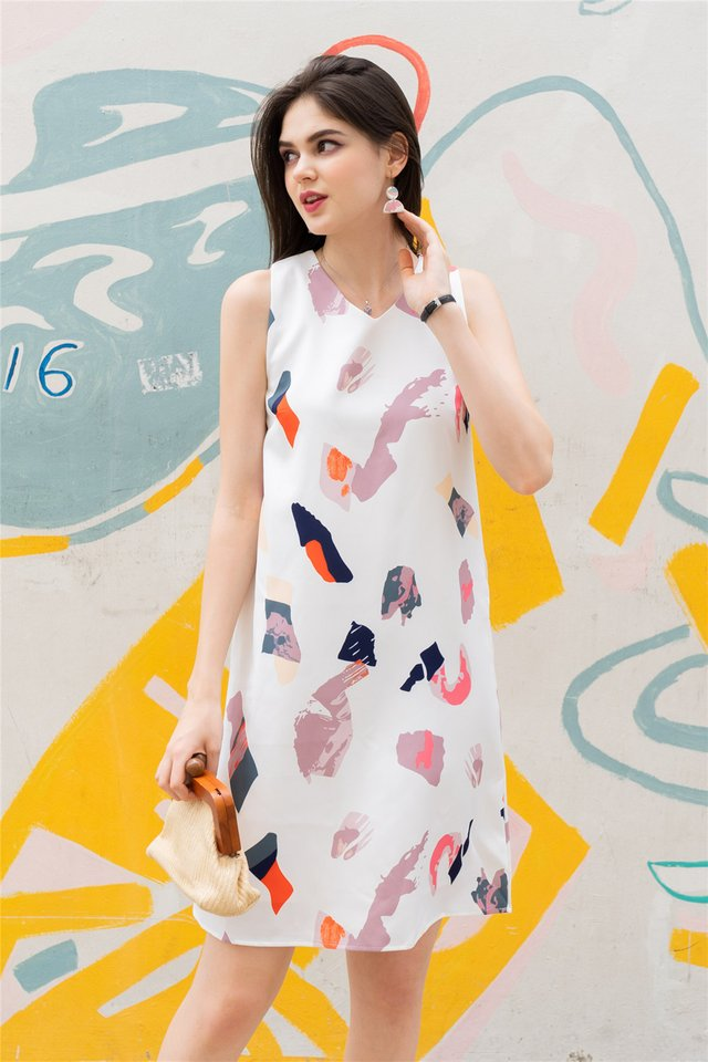 ACW Abstract Paint Midi Dress in White