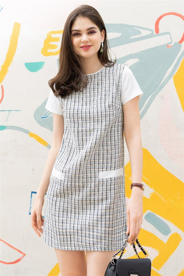 ACW Tweed Sleeve Shift Dress in Blue