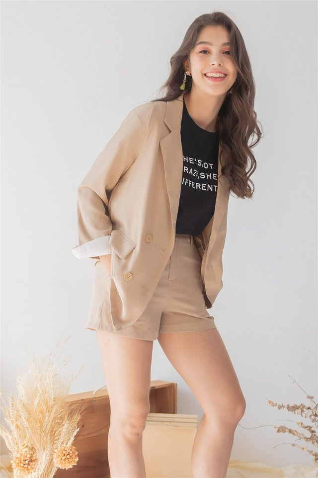*Backorder* Two Piece Blazer-Shorts Set in Sand