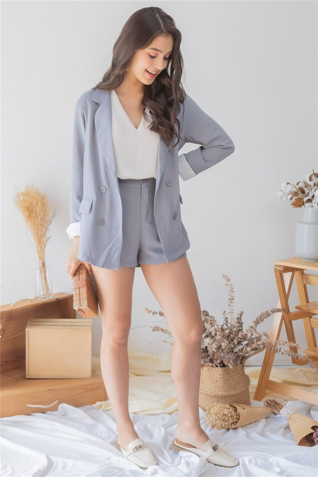 *Backorder 5* Two Piece Blazer-Shorts Set in Dusty Blue