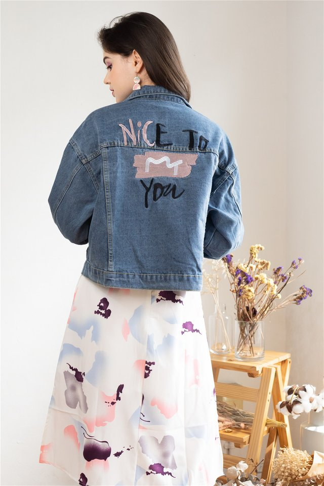 Embroidered Slogan Oversized Denim Jacket in Dark Wash