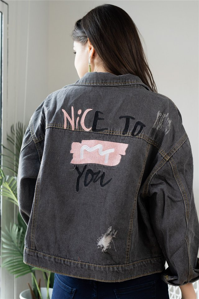 Embroidered Slogan Oversized Denim Jacket in Grey