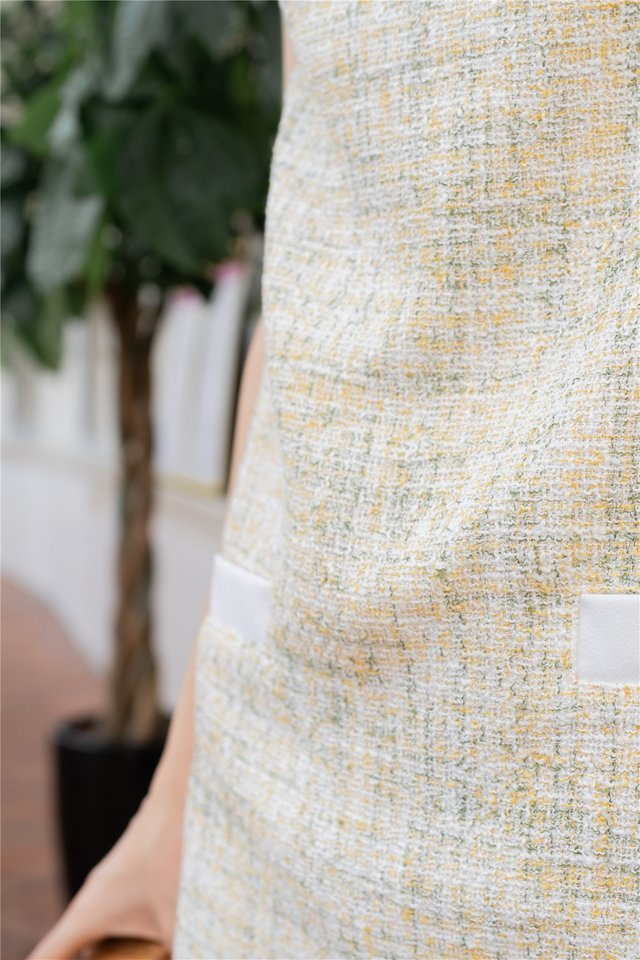 ACW Tweed Sleeve Shift Dress in Daffodil