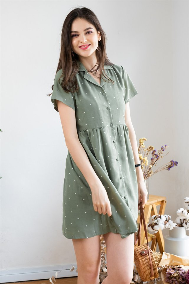 *BACK IN STOCK* Polka Dot Collar Babydoll Dress in Olive