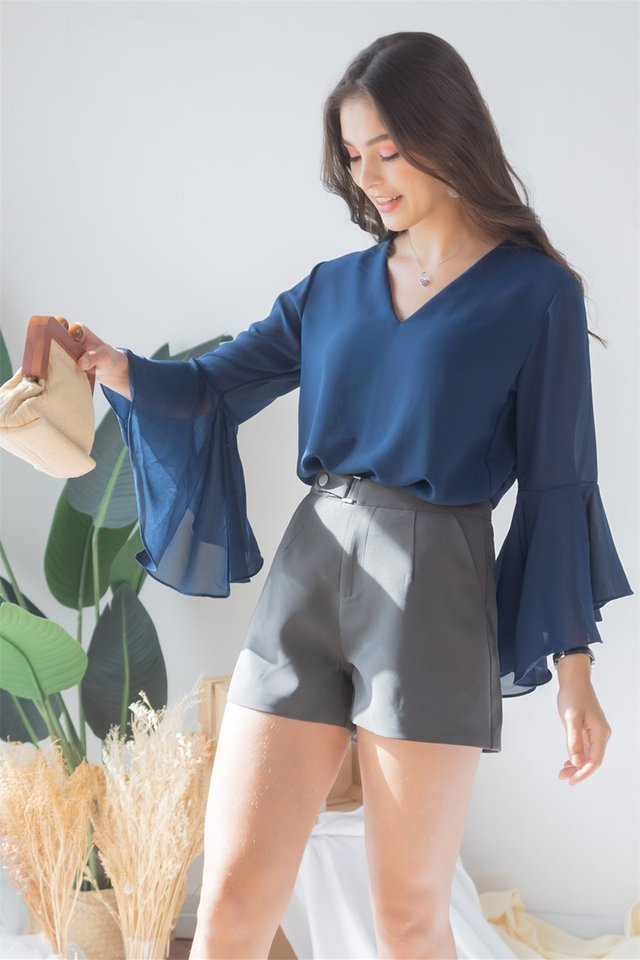*BACK IN STOCK* Bell Sleeve Chiffon Shirt in Navy
