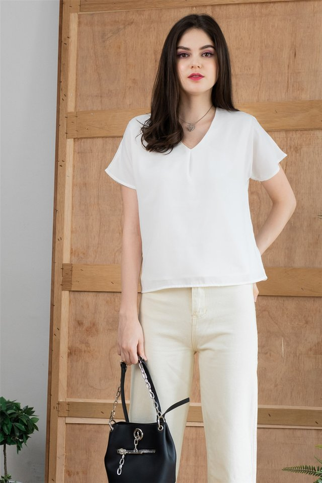 ACW Pleated Box Top in White
