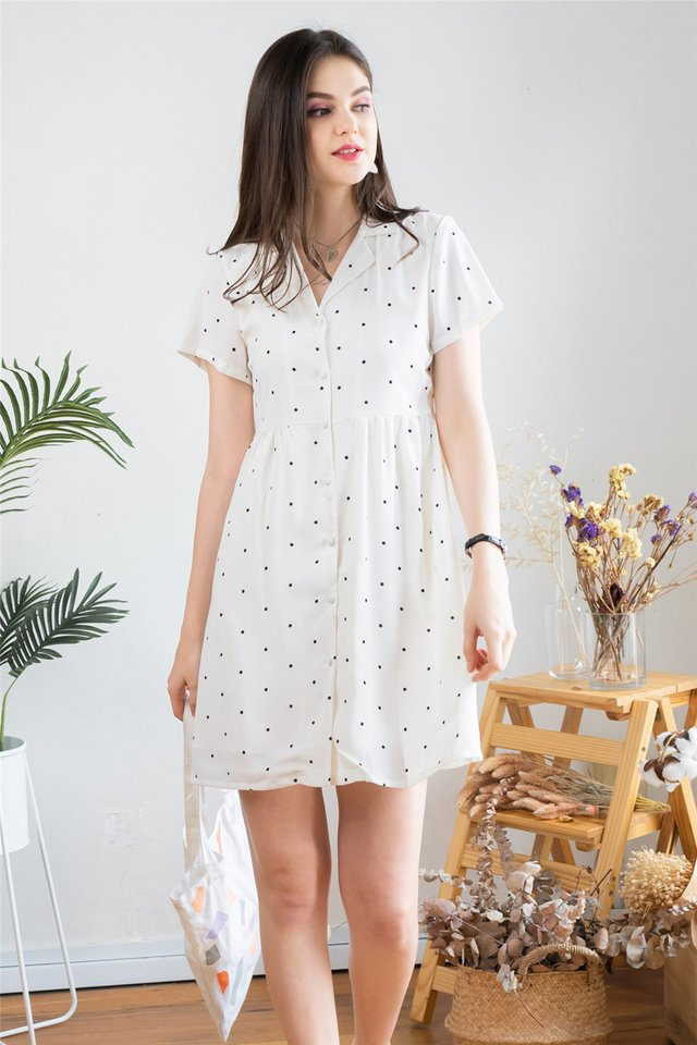 Polka Dot Collar Babydoll Dress in White