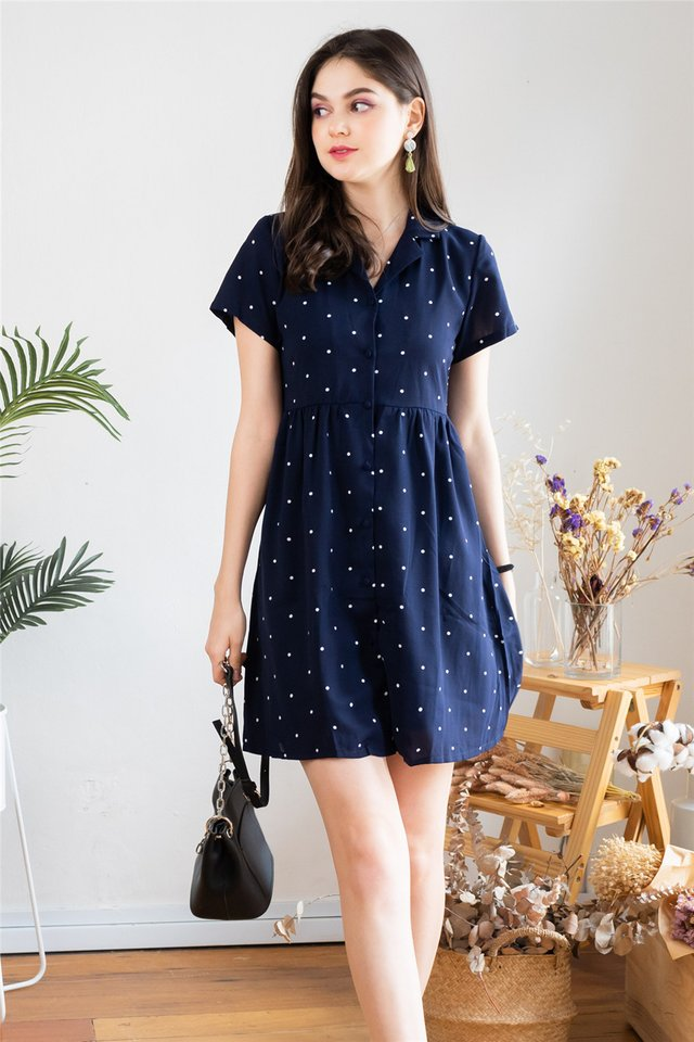 *Backorder* Polka Dot Collar Babydoll Dress in Navy