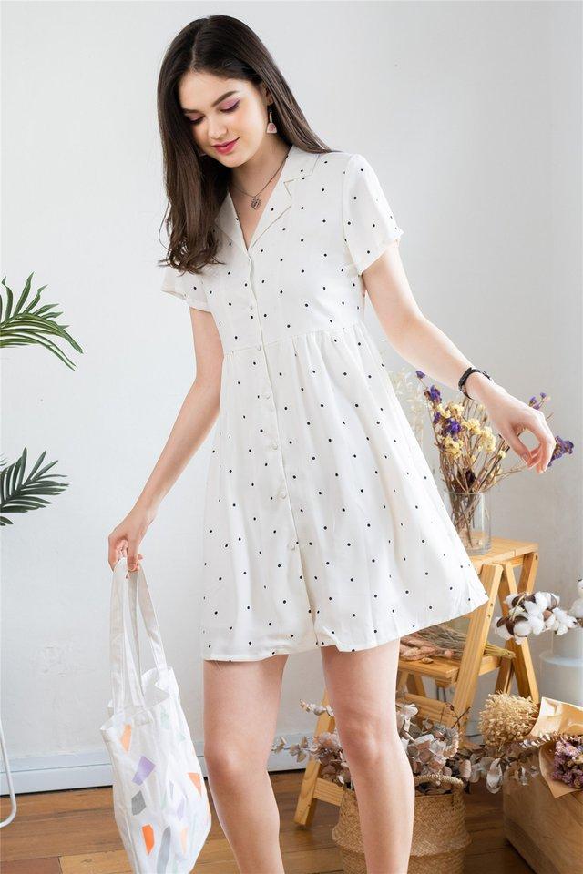 Polka Dot Collar Babydoll Dress in White