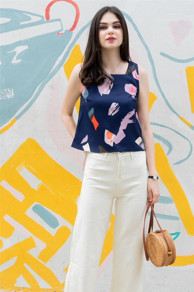 ACW Abstract Paint Square Neck Top in Navy
