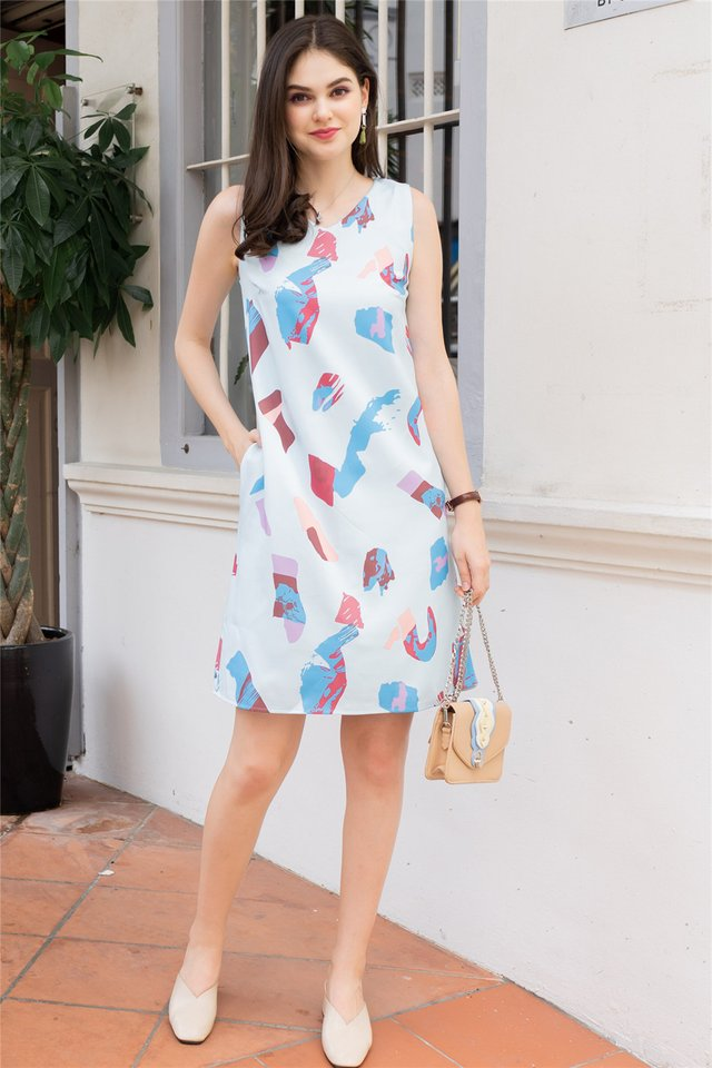 ACW Abstract Paint Midi Dress in Sky