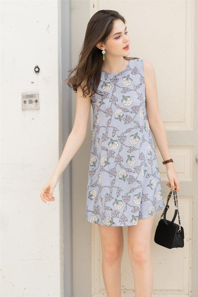 ACW Batik Prints Trapeze Dress in Sky