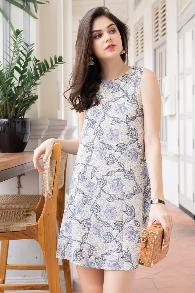 ACW Batik Prints Trapeze Dress in Ivory