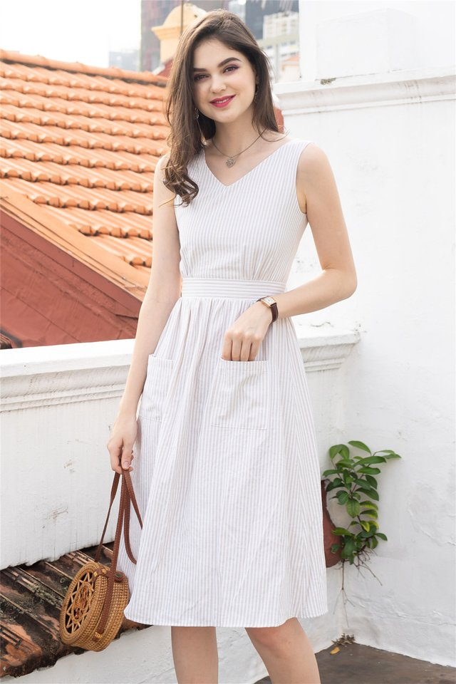 ACW Pinstripe Duo Pocket Midi Dress in Sand