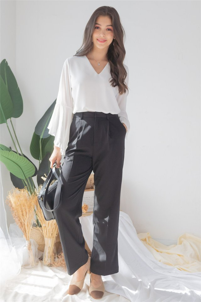 *Backorder* High Waist Straight Cut Trousers in Black