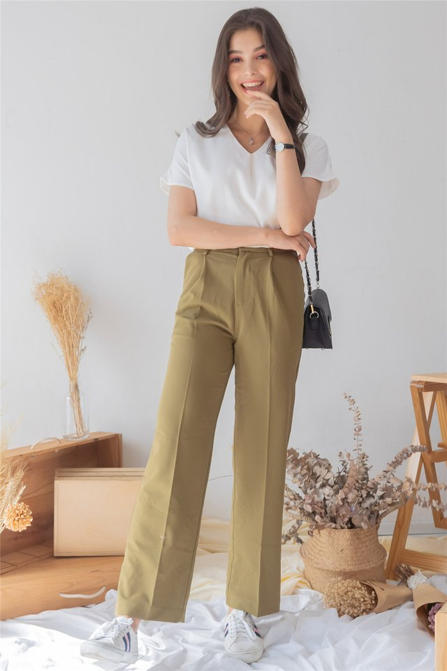 High Waist Straight Cut Trousers in Olive