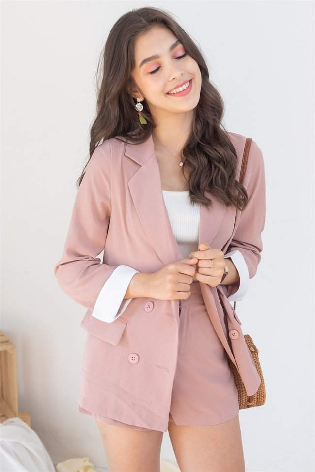 *Backorder* Two Piece Blazer-Shorts Set in Dusty Pink