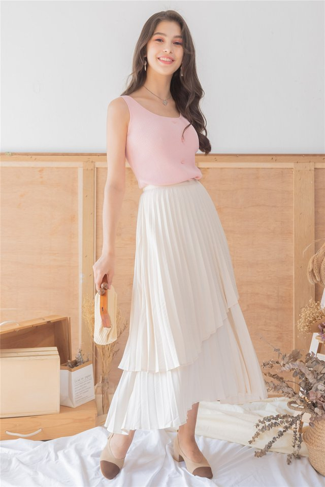 *BACK IN STOCK* Pleated Tiered Midi Skirt in Ivory