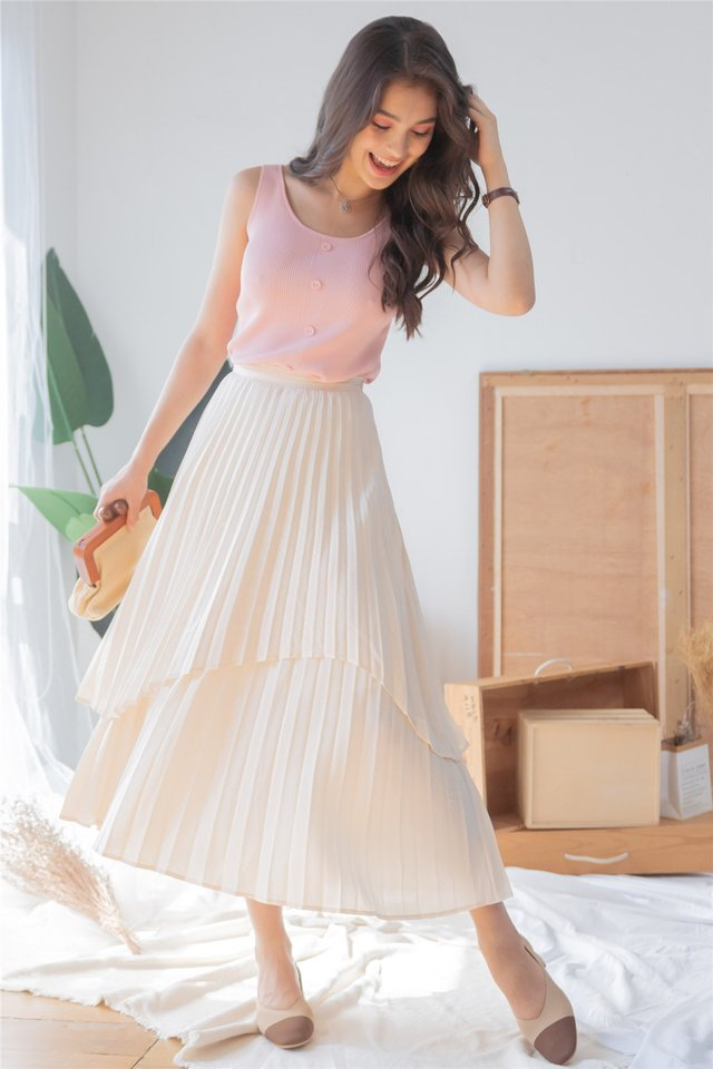 *Backorder* Pleated Tiered Midi Skirt in Ivory