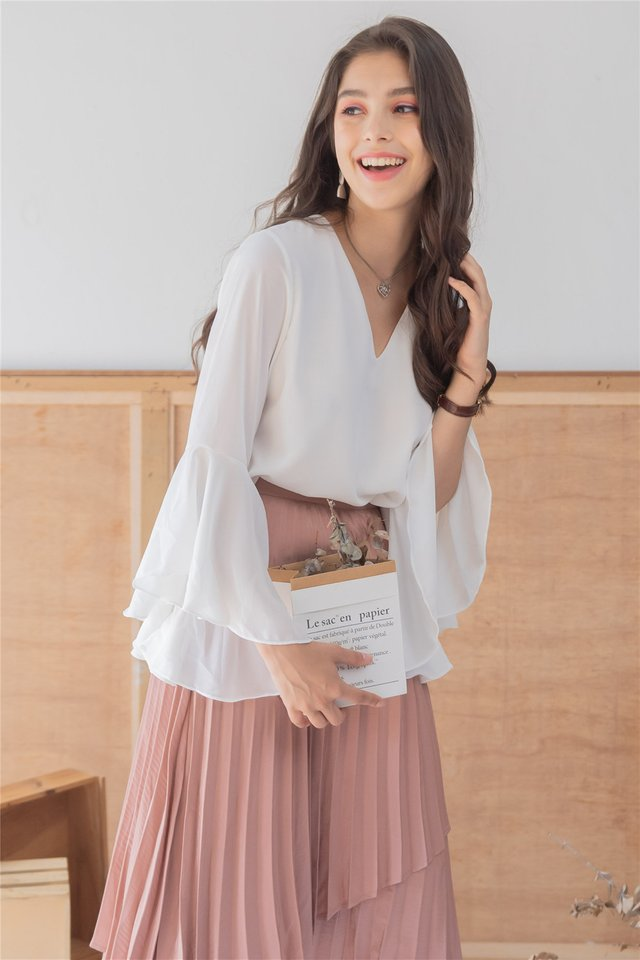 *Backorder* Bell Sleeve Chiffon Shirt in White