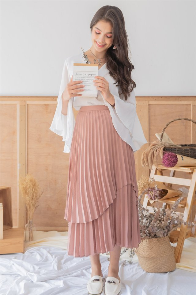 *Backorder* Pleated Tiered Midi Skirt in Dusty Rose