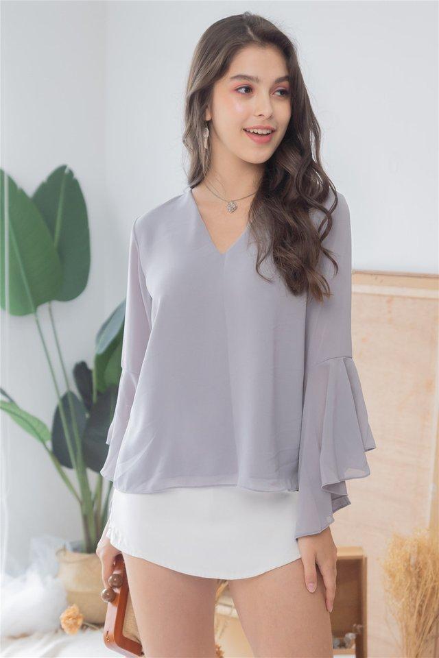 Bell Sleeve Chiffon Shirt in Grey