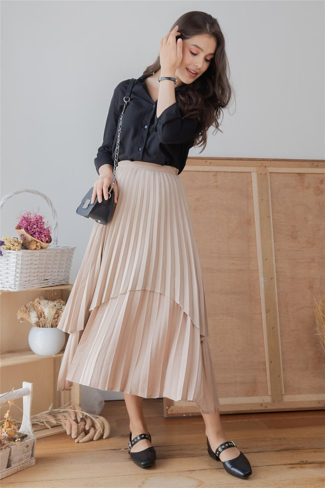 *Backorder* Pleated Tiered Midi Skirt in Sand