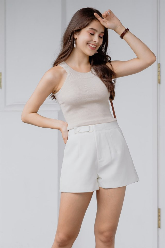 *Backorder* Buckle High Waisted Shorts in White