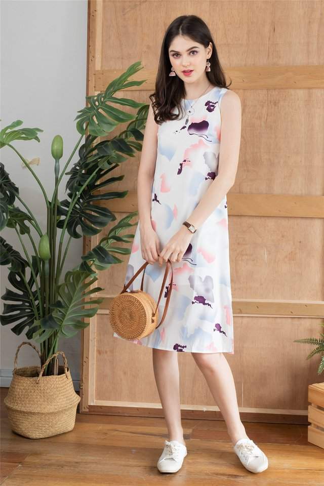 Watercolour Prints Midi Dress in White