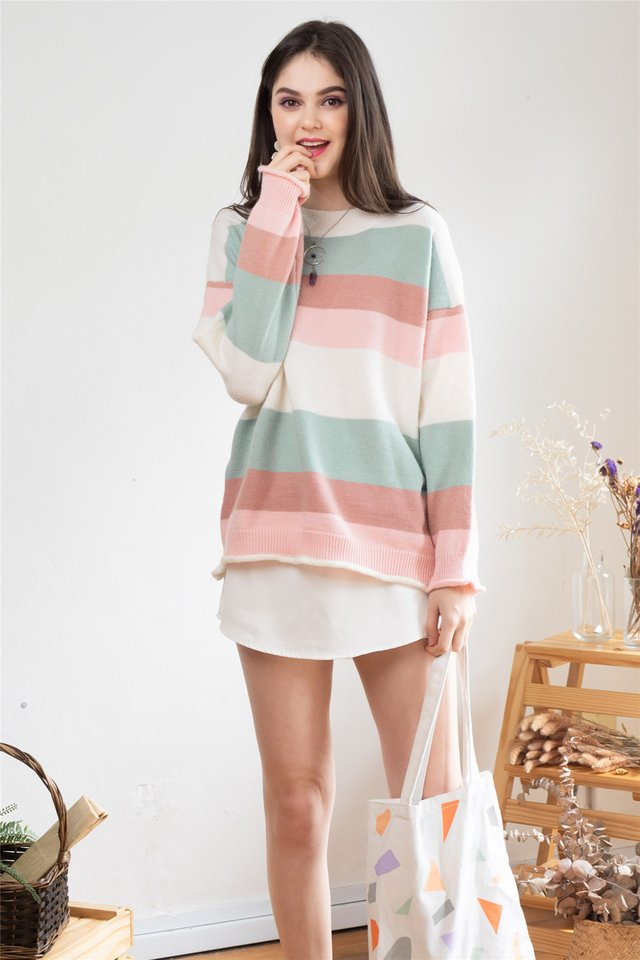 *Backorder* Colourblock Panel Soft Knit Sweater in Dusty Pink