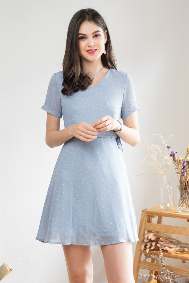 *Backorder 2* ACW Heart Prints Sash Swing Dress in Powder Blue