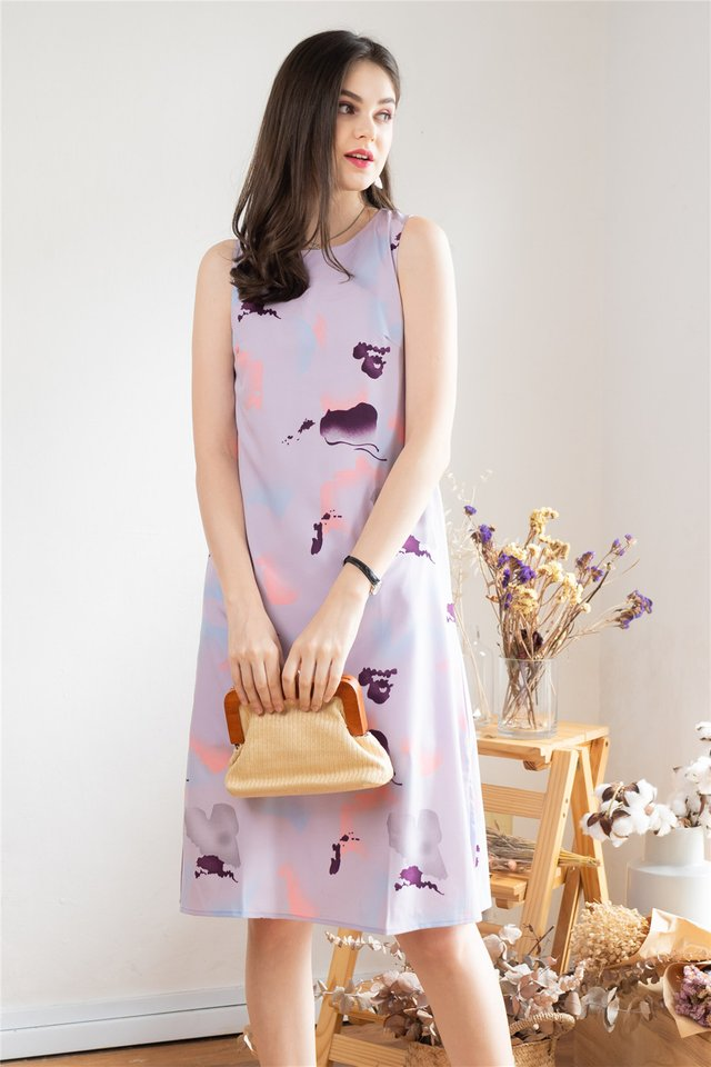 Watercolour Prints Midi Dress in Lilac