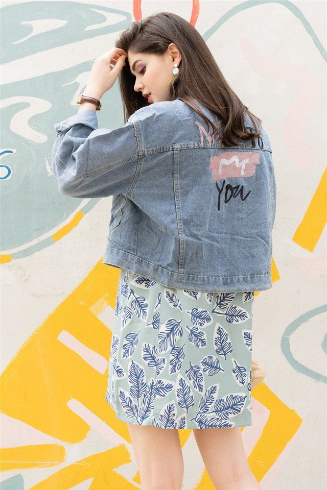 Embroidered Slogan Oversized Denim Jacket in Light Wash