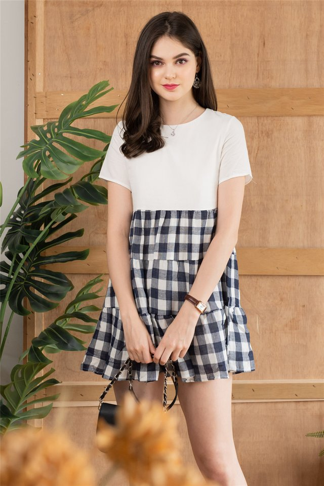 ACW Coloured Gingham Tiered Babydoll Dress in Navy