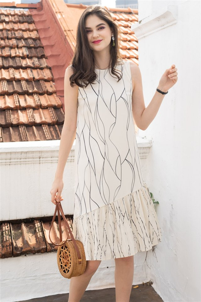Sketch Lines Pleated Hem Midi Dress in White