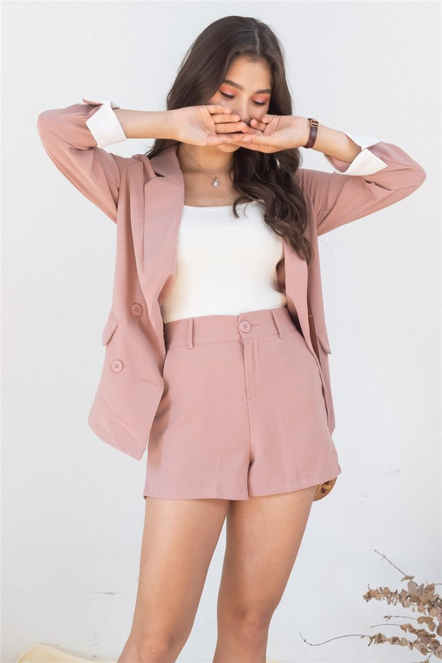 *Backorder 5* Two Piece Blazer-Shorts Set in Dusty Pink