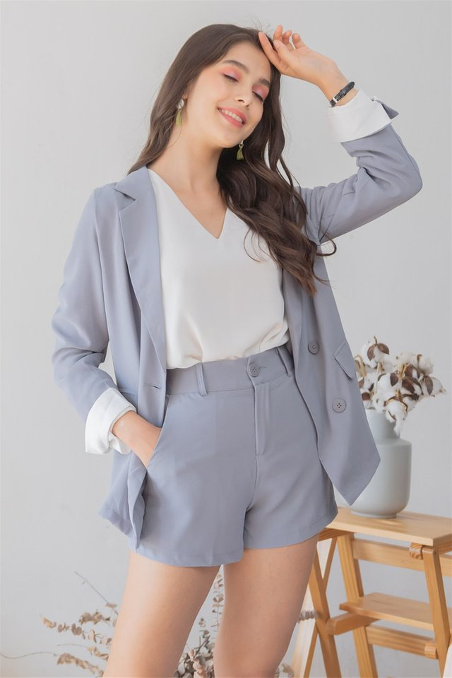 *Backorder 3* Two Piece Blazer-Shorts Set in Dusty Blue