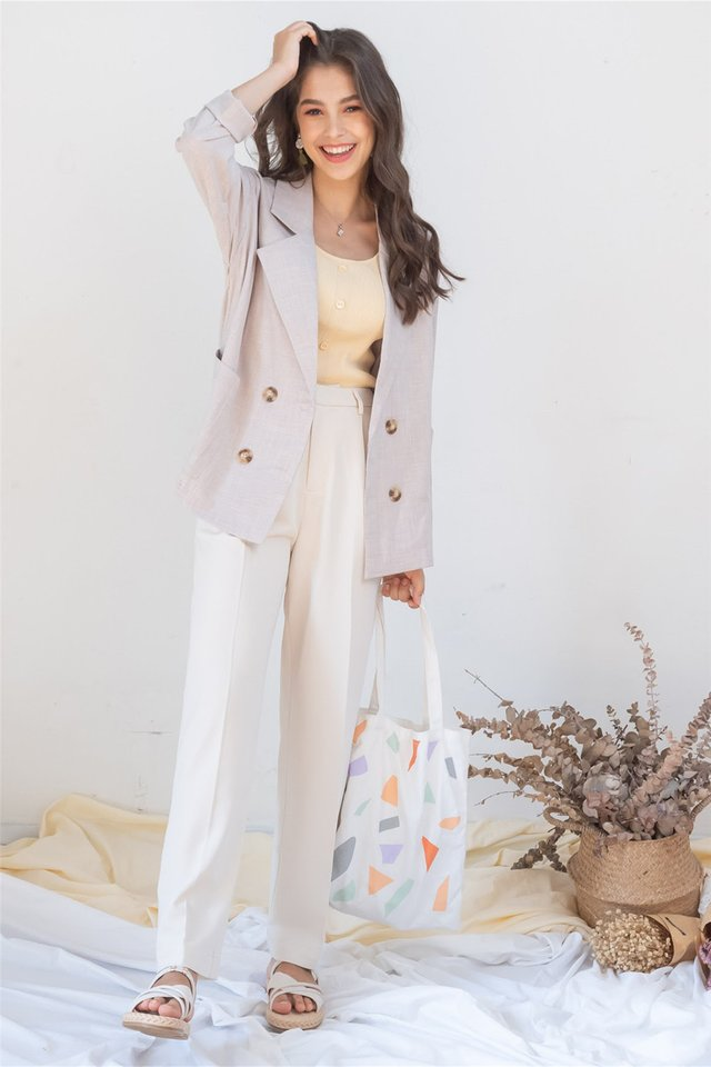 ACW Linen Textured Oversized Blazer in Sand