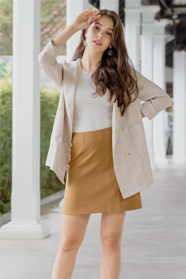*BACK IN STOCK* A-Line Structured Skirt in Camel Brown