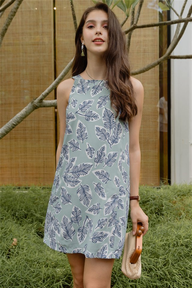ACW Botanical Flora Cut In Dress in Sage Green