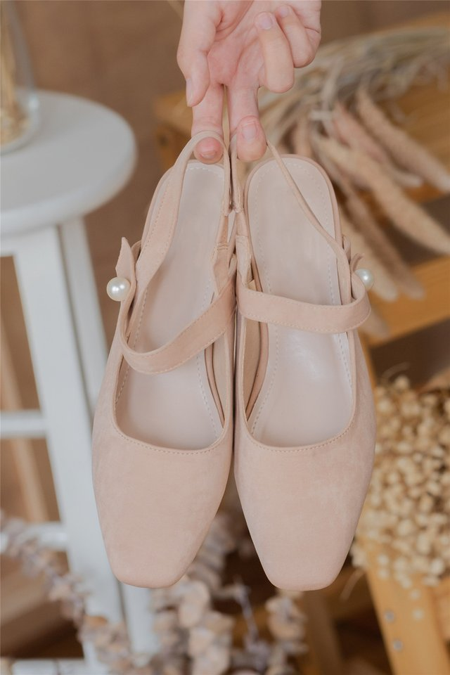 *BACK IN STOCK* Pearl Loop Slingback Heels in Blush