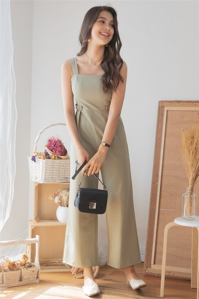 *Backorder* Duo Button Jumpsuit in Sage Green