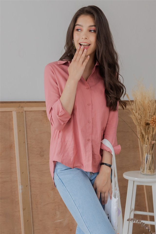 ACW Button Down Loose Fit Shirt in Mauve Pink