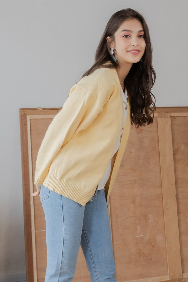 *BACK IN STOCK* Slouchy Soft Knit Cardigan in Butter Yellow