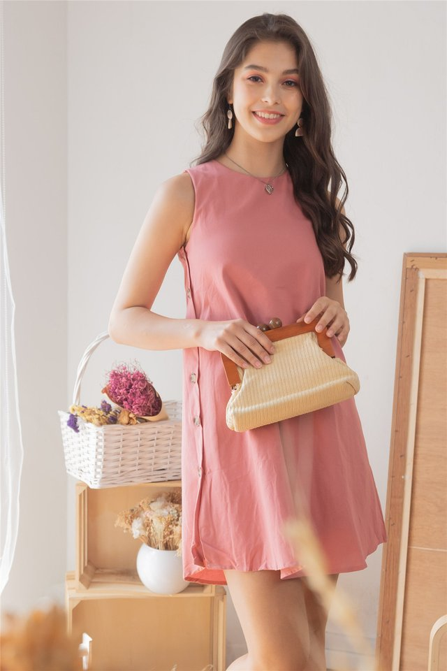 ACW Button Panel Trapeze Dress in Mauve Pink