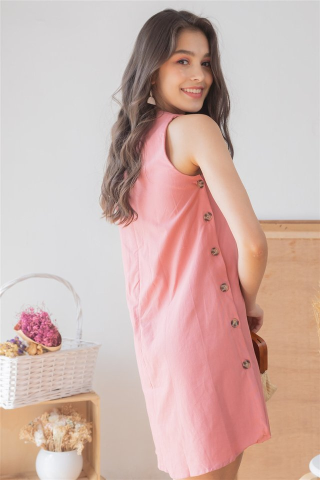 ACW Button Panel Trapeze Dress in Mauve Pink