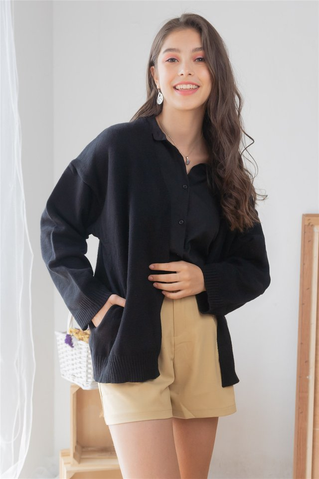 *BACK IN STOCK* Slouchy Soft Knit Cardigan in Black